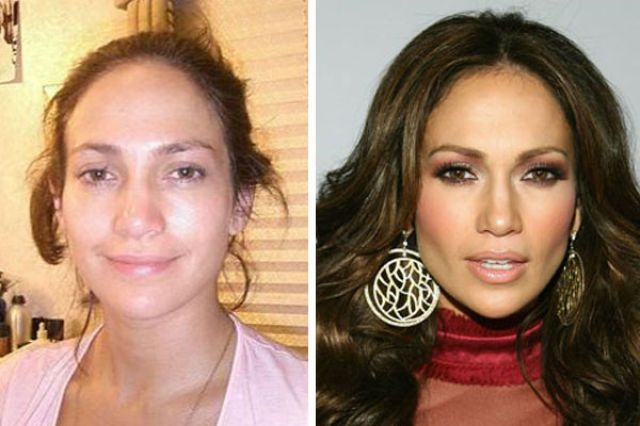 Jennifer Lopez before her plastic surgery and with no make-up.