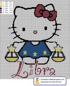 Patrón en Punto de cruz el Horóscopo de Libra de Hello Kitty.  Nacidos entre: 23 de Septiembre al 22 de Octubre Simboliza: La justicia, la ...