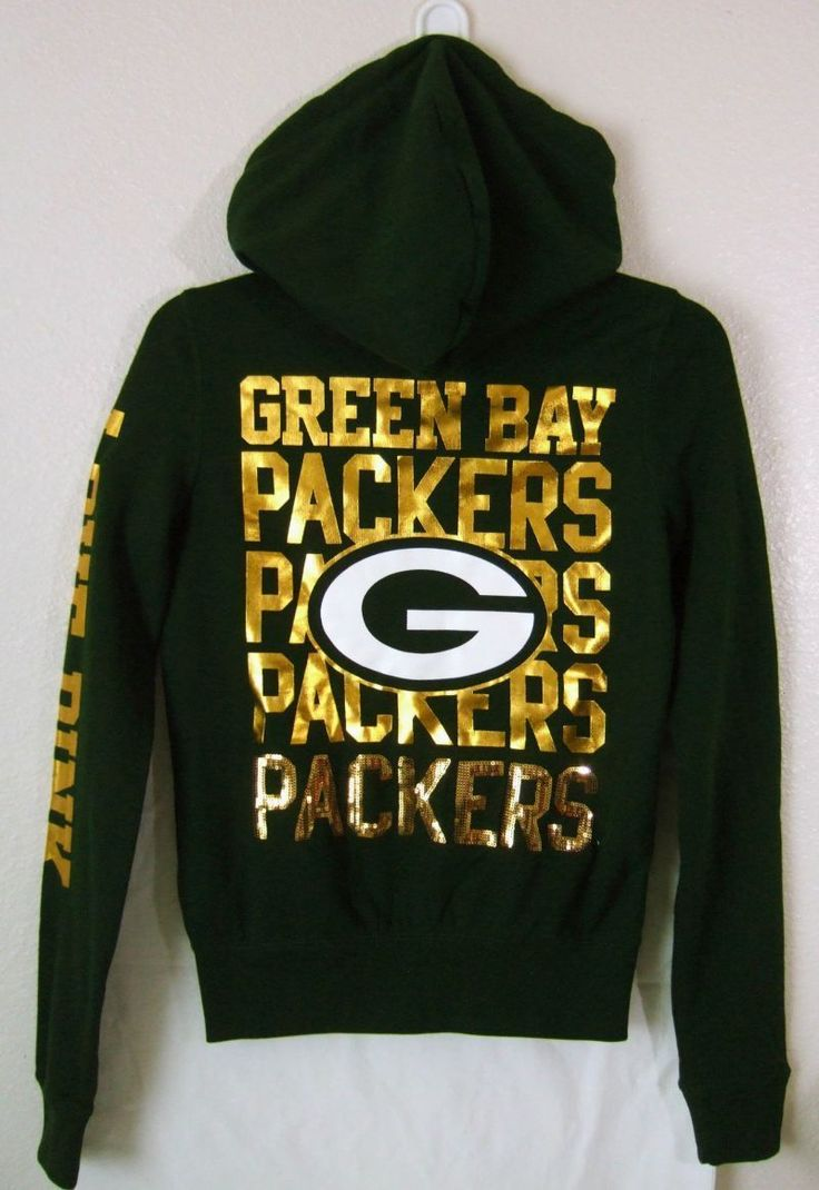 VICTORIAS SECRET Football NFL Green Bay Packers XS Bling Sequin Hoodie Sweater | eBay