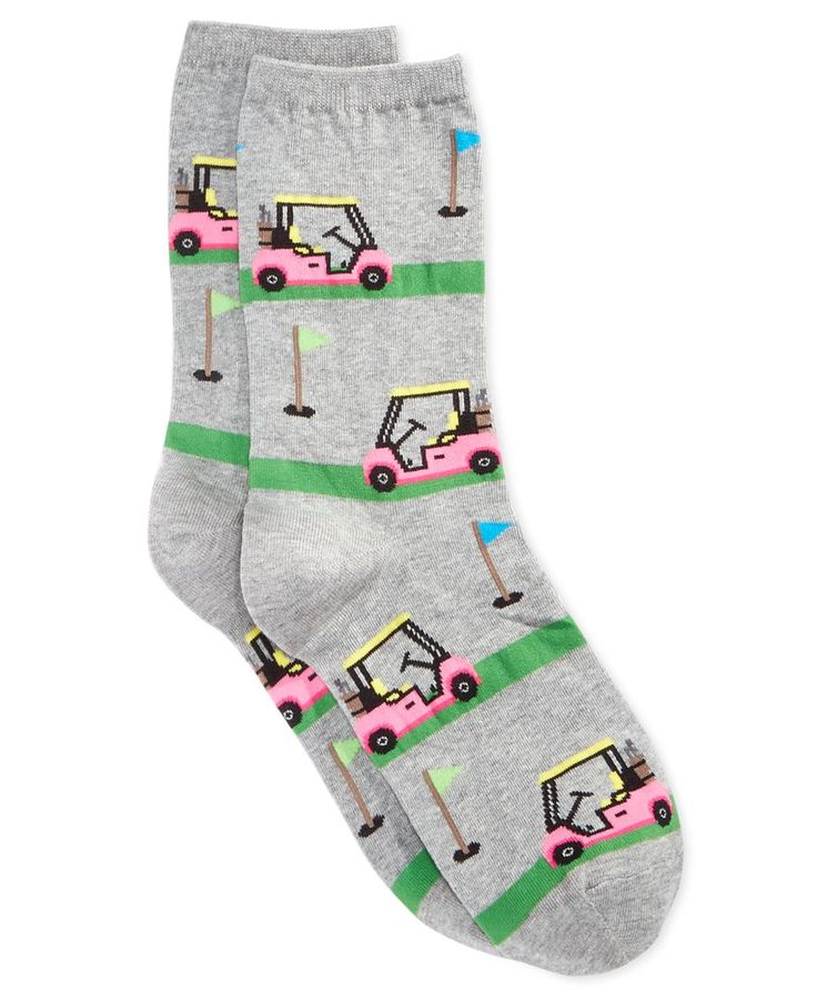 Flex your fashion muscles with Hot Sox's comfy pair of golf cart-themed socks. | Cotton/polyester/nylon/spandex | Machine washable | Imported | Golf cart design | One size fits most | Web ID:2746829
