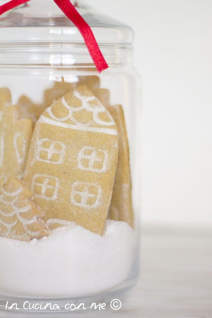 Casette innevate in barattolo un'idea regalo golosa #christmas #cookies #gift #natale #biscotti