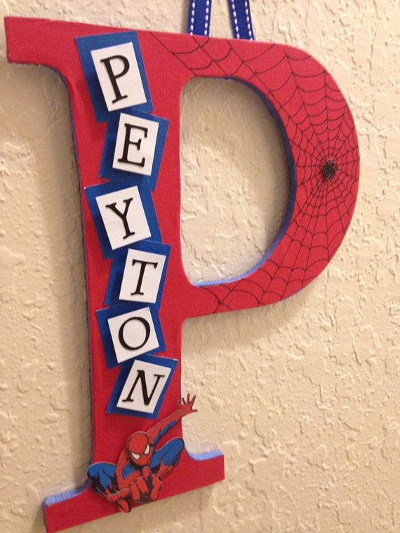 Spider-Man Theme- Name Wall Hanging-   Initial Letter With name- Red and Blue  on Etsy, $25.00