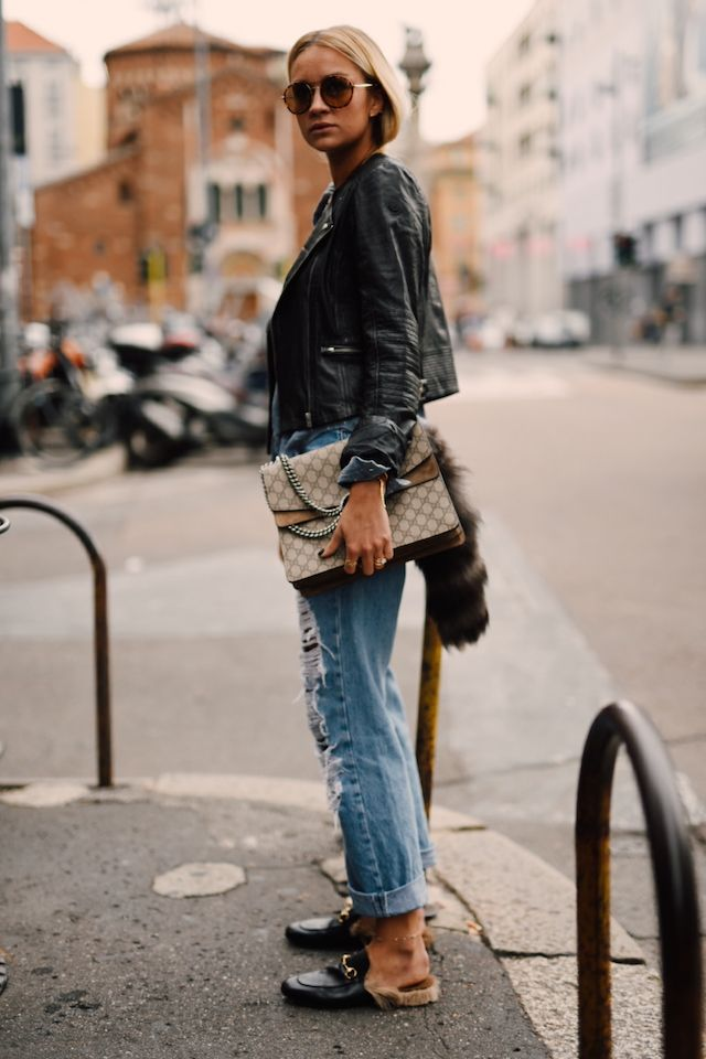 Distressed Denim + Cropped Leather Jacket + Aviator Sunglasses + Gucci Slides | Street Style | Nina Suess: Via Giacomo Pinaroli