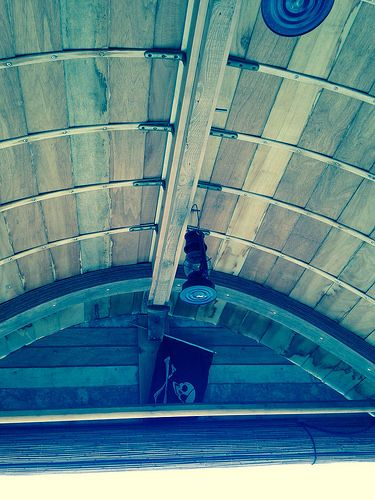 Inside of the handcrafted boat roof.