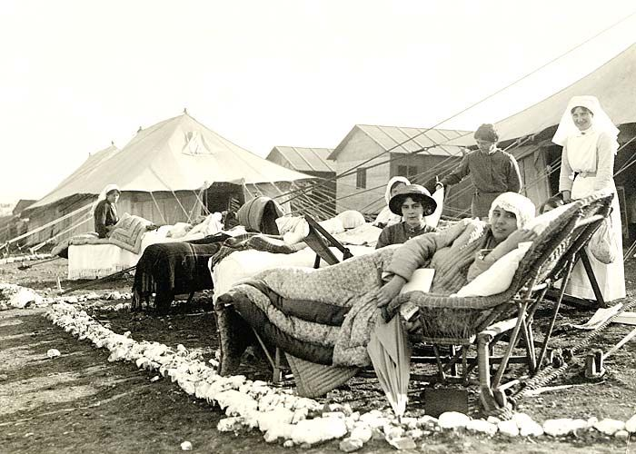 Sick nurses outside their quarters, Lemnos Island, off Gallipoli.c.1915