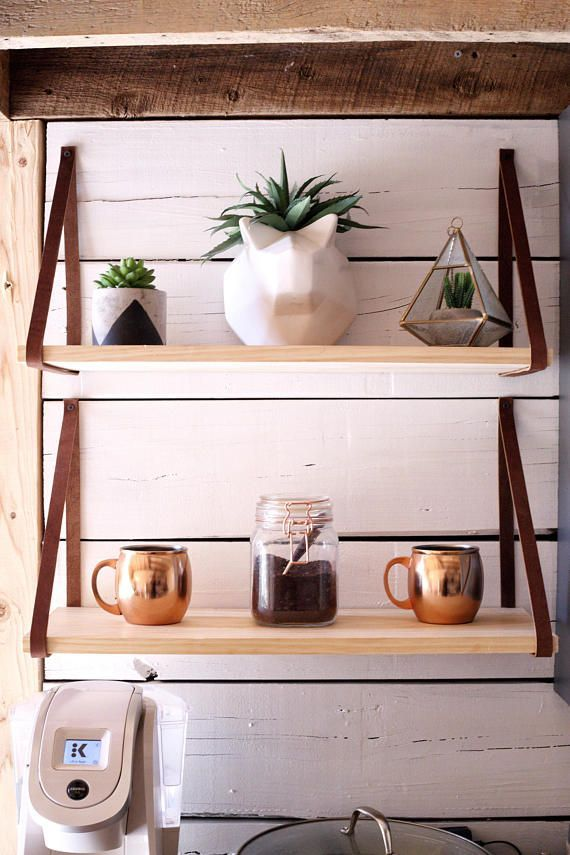 The Ferrel Shelf Pine Wood Hanging Shelves Leather Strap Wood