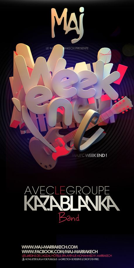 A Bunch of Flyers by Batoul et Mehdi , via Behance - 3D Typography Design Modelling