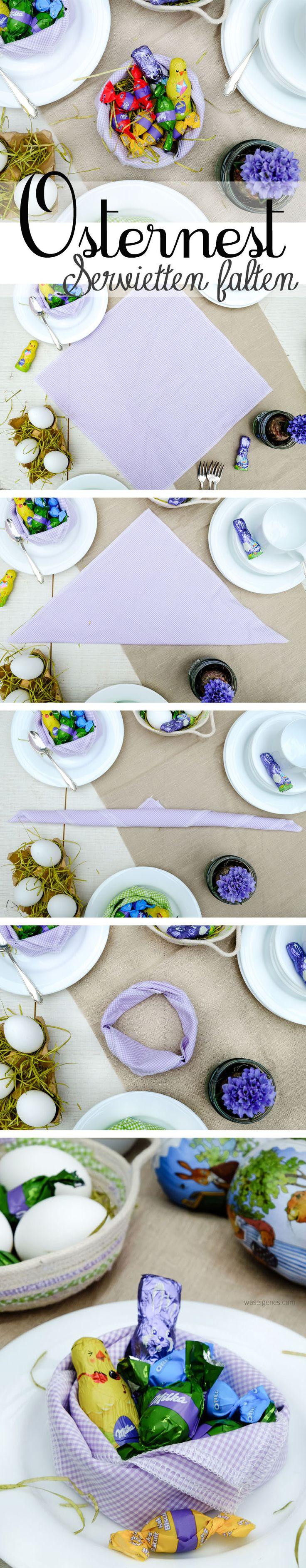 Osternester aus Servietten falten oder ein Osterkörbchen aus Kordel nähen