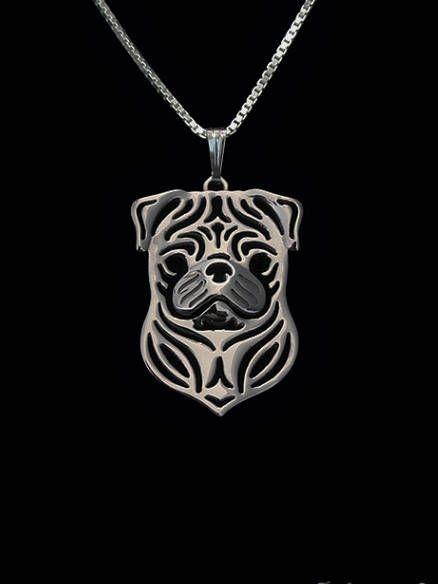 Mops hond hanger Geometrisch zilver Plated Honden ketting