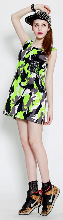 Neon Colors Camouflage Dress (2 Colors)    Spring & Summer   Dolly & Molly   www.dollymolly.com   #green #neon #nike #sneaker #camou #camouflage #printing #sick #studdedcap #caps #sporty #trend #army #military #styling #fashion