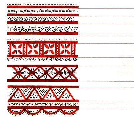 Mezenskaya Folk Art Style borders, from Mezen river valley, Russia. Мезенская роспись