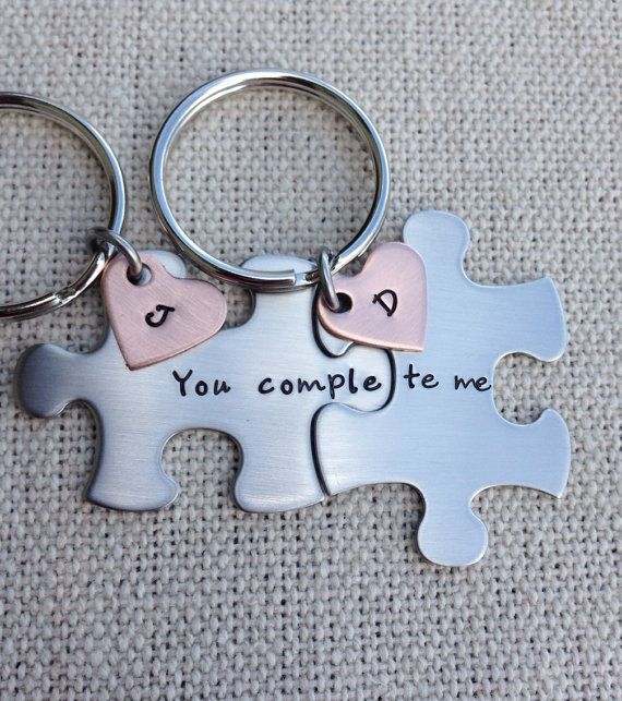 puzzle piece key chains his and hers you complete me  gift for him gift for her on Etsy, $24.00