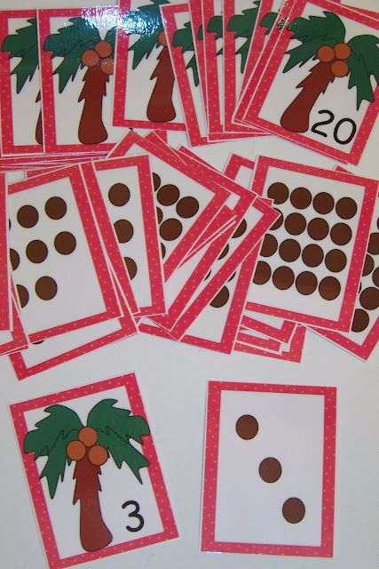 Number Sense Center...look at the bottom of the page and it directs you to the sight to download these for free...Chicka Chicka Boom Boom 123 cards!  Way cool!