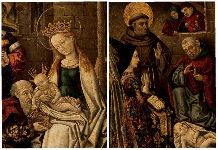 ÉCOLE DE SAVOIE VERS 1472 L'Adoration des bergers avec Charlotte de Savoie- La reine Charlotte est représentée sur un prie-Dieu orné d'une riche étoffe, à la place habituelle des donateurs. Sa robe est somptueuse bien qu'elle soit plutôt réputée pour sa modestie de mise. Son long hennin témoigne de la mode des années 1470-75 en vigueur à la cour bourguignonne. Le peintre a certainement travaillé sur le vif en ce qui concerne la reine, contrairement au Recueil d'Arras, qui est déjà une…