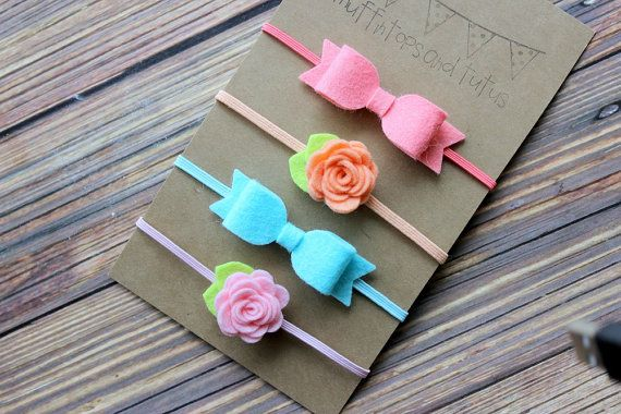 Felt bow headband set - newborn/baby/toddler headband - felt bow set -