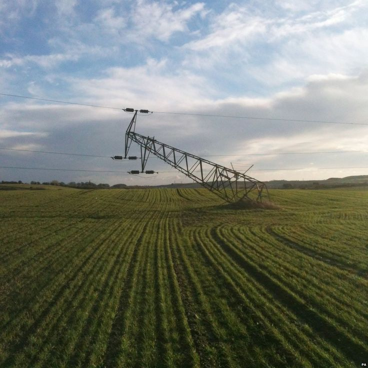 It's been windy... Damaged pylon, caused by severe winds overnight, just south of Houghton le Spring, Tyne and Wear.
