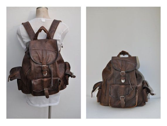 vintage leather backpack LARGE leather back pack by andyhaul