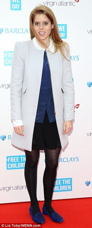 Stylish: Princess Beatrice looks smart and stylish as she arrives at the We Day event at Wembley Arena