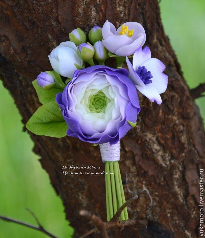 Купить Рэйчел (брошь-бутоньерка) - фиолетовый, брошь с ранункулюсами, ранункулюс, фиолетовые цветы, фиолетовый ранункулюс