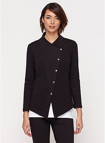 Funnel Neck Shaped Jacket in Organic Cotton Stretch Jersey