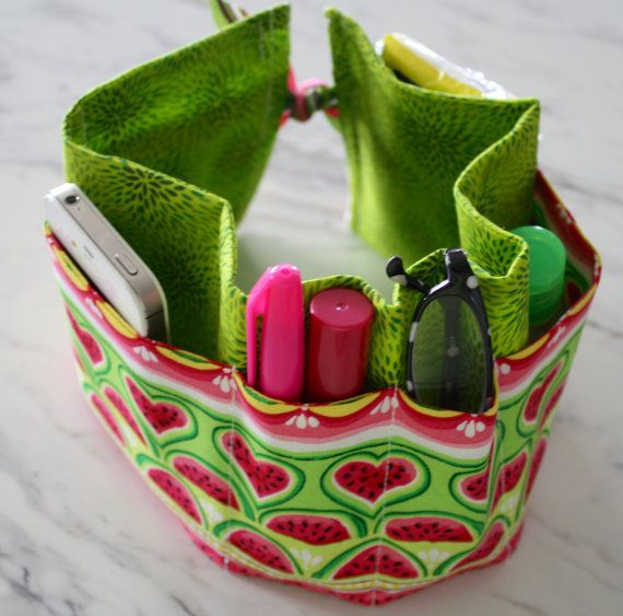 Handbag organiser. Handmade. Watermelon fabric. by LibbysLifestyle