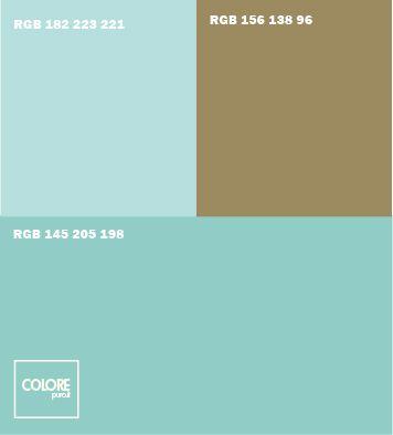 Abbinamento colori azzurro leggermente verde, azzurro, marrone