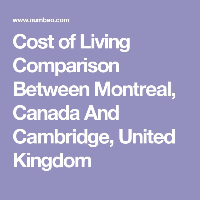 Cost of Living Comparison Between Montreal, Canada And Cambridge, United Kingdom