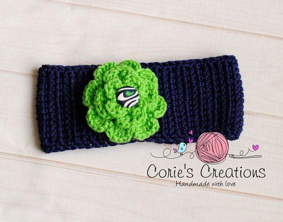 Seahawk Crochet Head Wrap Ear Warmer Headband on Etsy, $18.00