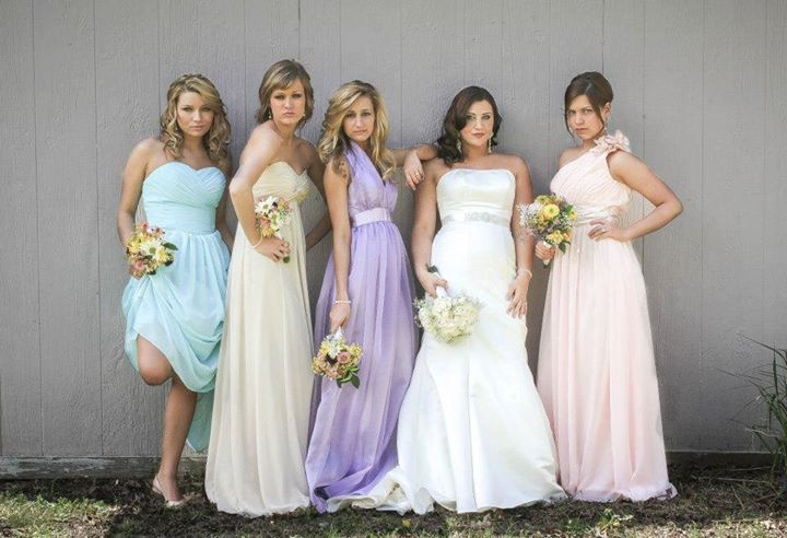 Lavender pastel bridesmaid dresses cupcake wedding for Pastel colored wedding dresses