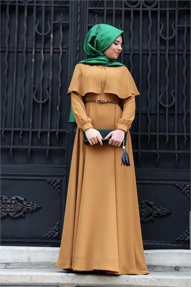 Mevra Pelerinli Elbise Hardal                                   (M-E-016)