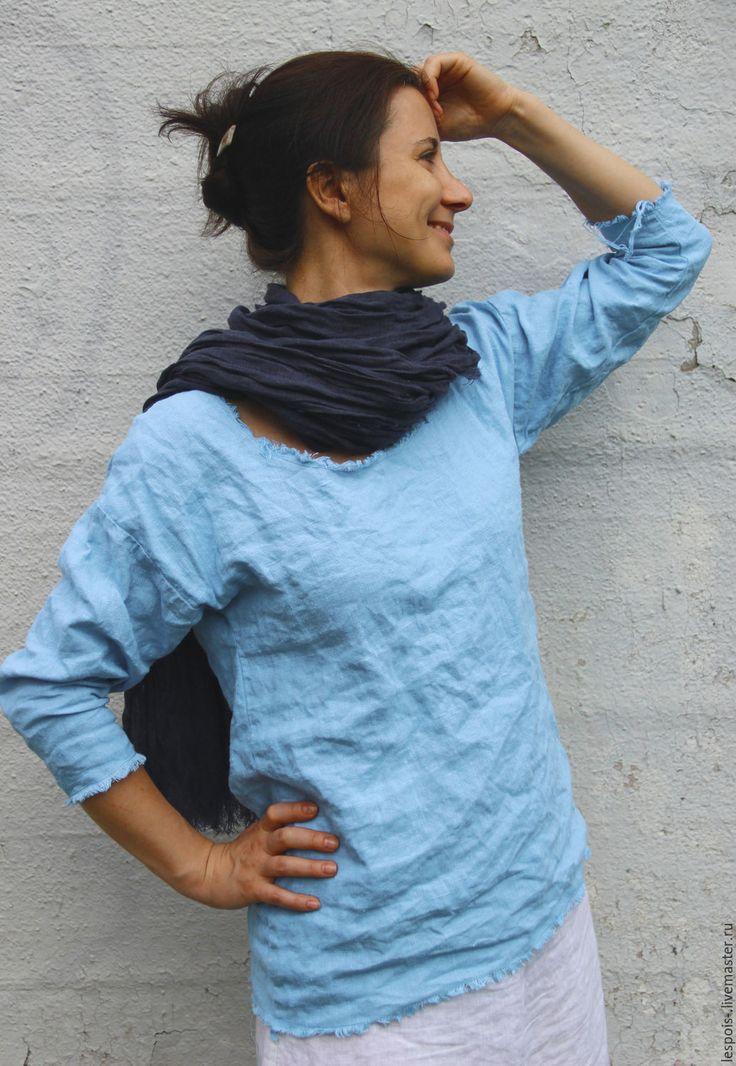 Купить Льняная туника - голубой, лён натуральный, туника, небесно-голубой, 100% лен