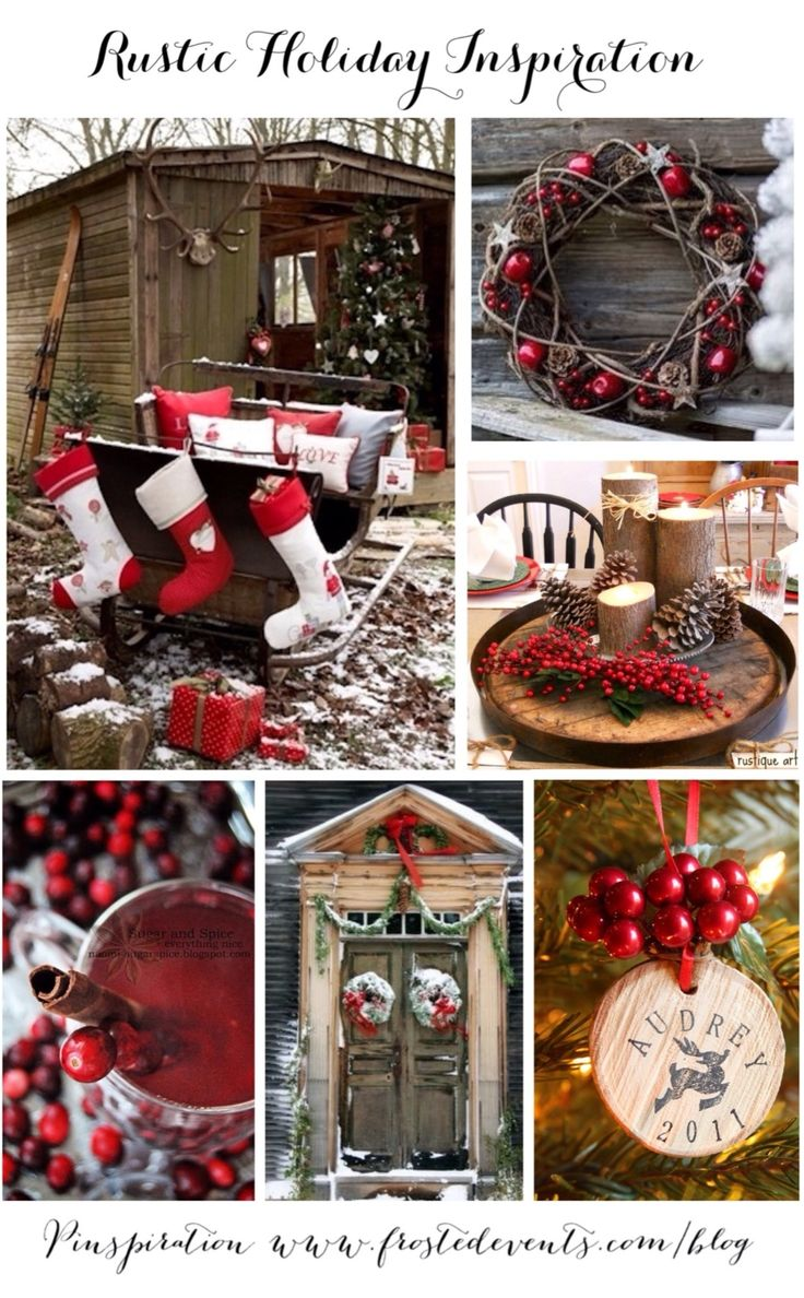 Rustic Holiday Inspiration- red berries, greenery, snowy branches, weathered wood  Christmas ideas for trimming the tree & decking the halls, holiday decor, recipes, crafts   #christmas #holiday #decorate