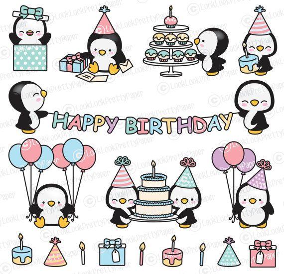Premium Vector Clipart Kawaii cumpleaños pingüinos