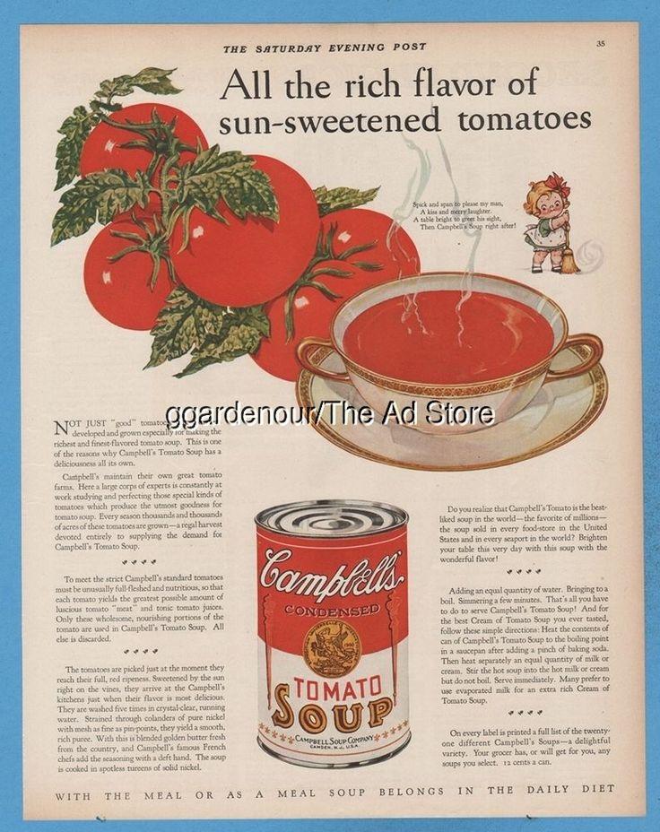 1928 Campbellu0027sTomato Soup Kid Soick And Span Antique Kitchen Decor  Magazine Ad