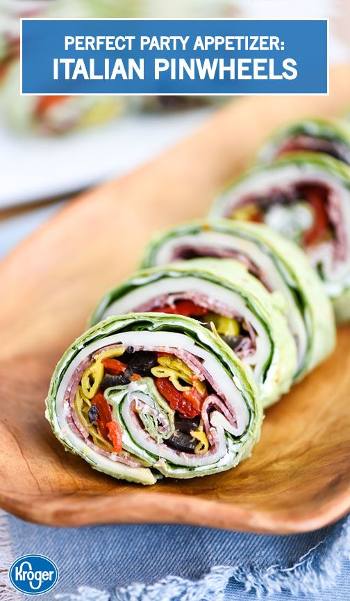 Searching for easy and delicious appetizers all the grad party guests will enjoy? Look no further than this recipe from Inspired Gathering for flavorful Italian Pinwheels! Grab a spinach tortilla wrap, pepperoncinis, black olives, cream cheese, salami, and roasted peppers to get started on these savory bites.