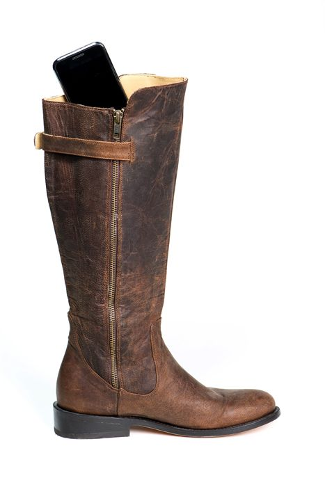 Luxurious leather riding boot with pockets for your cell phone, credit cards and passport. Perfect for dancing, travel, motorcycling and horseback riding! Available in wide, regular, & slim calf. Click to view - www.elizabethanneshoes.com