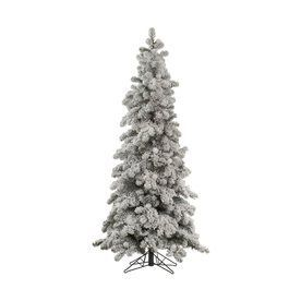 Vickerman 6-Ft Spruce Flocked Slim Artificial Christmas Tree A146860