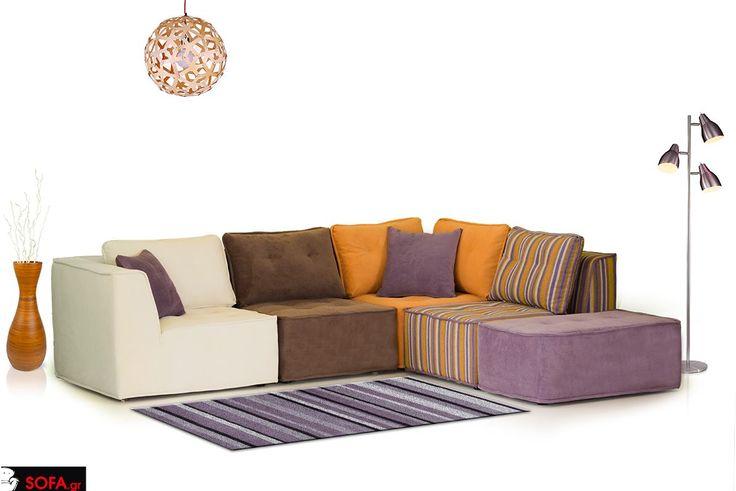 Πολυμορφικός γωνιακός καναπές Carrera σε 5 κομμάτια και σε καφέ-μωβ απόχρωση http://www.sofa.gr/epiplo/goniakos-kanapes-carrera  Colourful sofa 5 pieces