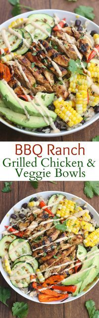 BBQ Ranch Gilled Chicken and Veggie Bowls ~ served over black bean rice with delicious grilled veggies, marinated and grilled chicken and a delicious honey BBQ ranch sauce | http://TastesBetterFromScratch.com