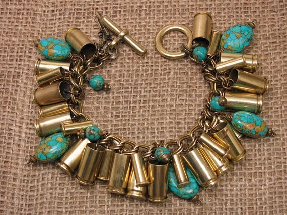 Bullet Casing Jewelry - Authentic Mixed Brass 9mm and 22 Caliber Casings with Turquoise Beadwork  Charm Bracelet - Loaded with Style