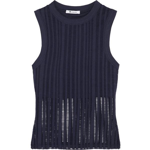 T by Alexander Wang - Laser-cut Cotton-blend Jersey Tank ($70) ❤ liked on Polyvore featuring tops, navy, a line tops, navy top, bralet tops, navy blue top and laser cut top