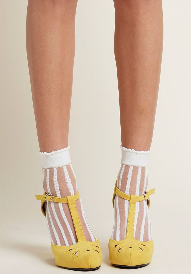 Sheer to Impossible Socks in White - Find a sweeter set of white socks than this pair? We think not! Topping off their solid knit and sheer striped panels with subtly scalloped ankles, these chic crew socks are as stylish as they come!