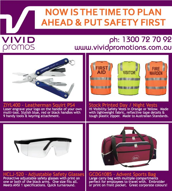 Put safety first on the work site with handy promotional items like adjustable safety glasses, reflective vests, handy leatherman and tough duffle bags.  Ideal for mining sites, construction crews, building sites, carpenters, road side crews and lots more.  Get more information on http://www.vividpromotions.com.au.