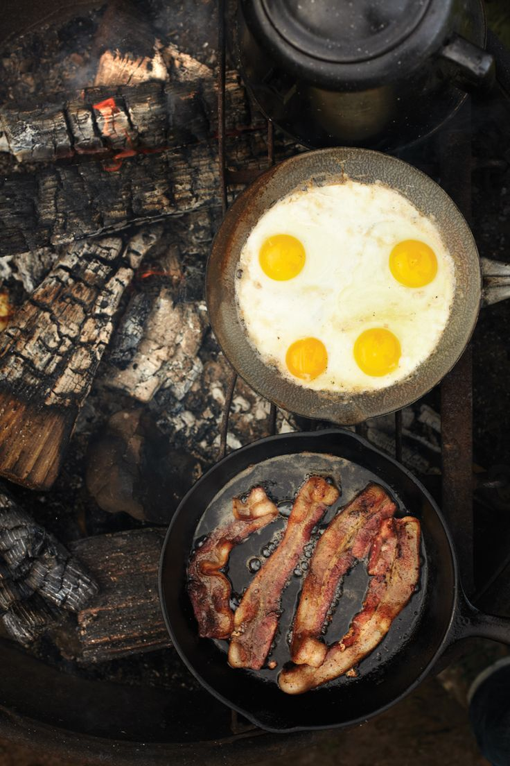 Nothing tastes better than coffee and a hot meal after sleeping in a tent.