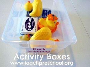 Activity boxes from Teach Preschool. Put together activities ahead of time that are easy to set out as needed.
