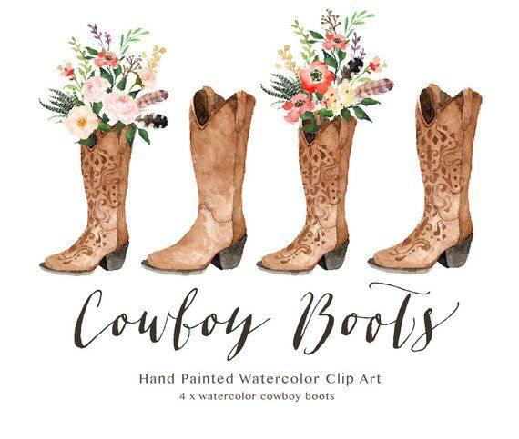c45c03a4a03 Watercolor cowboy boots/Wedding/Clip art collection/Individual PNG ...
