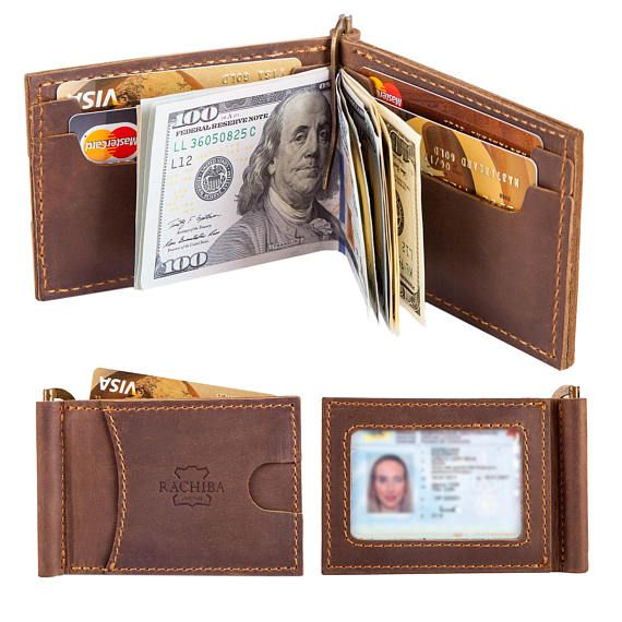 This handmade men's leather wallet with money clip is handmade from 100% genuine Italian leather, slightly distressed, with beautiful wax linen hand stitching. It features 6 card slots that will hold up to 18 cards with a money clip in the center for your bills. The wallet is made to order