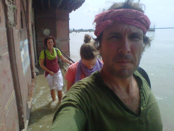 wading through the Yamuna river with Barbara and Sanne, circumambulating Vrindavan (apparently very good karma!)