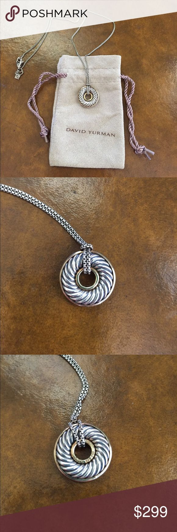 David Yurman 18K Gold & SS Cable Disc Necklace Authentic David Yurman 18K Gold & Sterling Silver Cable Disc Pendant Necklace. Like new. Excellent Condition. Worn once. Sold With David Yurman jewelry bag. David Yurman Jewelry Necklaces