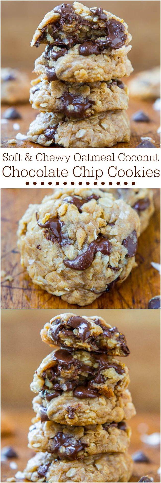 Soft Chewy Oatmeal Coconut Chocolate Chip Cookies - NO BUTTER no mixer used in these easy cookies dripping with chocolate!